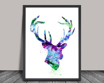Deer Print, Deer Watercolor Art, Deer Painting Poster, Wall Art Decor, Watercolor Painting, Animal Art, Watercolor Print (85)