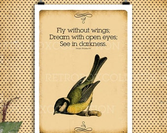 Fly quotes birds flying Print Vintage letter paper A4 300dpi - instant download - Retro Box Collection