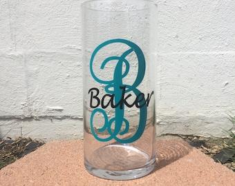 Monogrammed Glass Hurricane or Vase