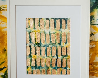 Morning bars 2 // Original abstract painting, acrylic ink and gold leaf. Yellow, blue, gold, navy, white.