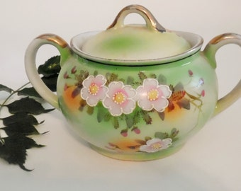 Hand Painted Cherry Blossom Floral Sugar Bowl MIJ