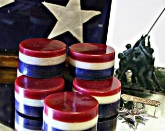 Patriotic Soap~American~America Pride~Red White Blue Soap~Celebration~Americana Soaps~The Brave~Nations Heros~Patriotic Gift Soap~
