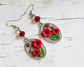 "Earrings ""Red poppy""- Floral earrings - Spring earrings with red poppies"