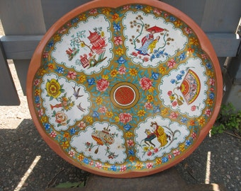 Vintage metal décor tray Asian designed by (Daisy decoration Engletaire) your zip code for real charge S V P