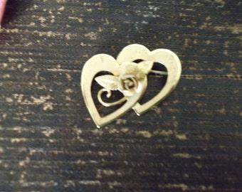 Bond Boyd Gold Heart and Flower Brooch