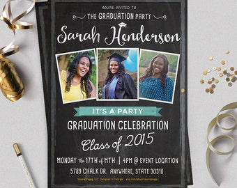 Graduation Party Invitation / Graduation Photo Card / Graduation Invitation / Graduation Invite / Class of 2015 / No. 043