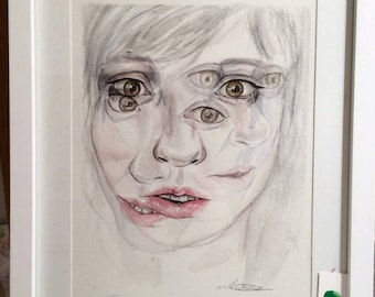 Original, handmade, watercolour painting, portrait, faces, eyes, dark, abstract art