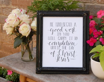 Scripture Quote Hand Lettered Typography Digital Download