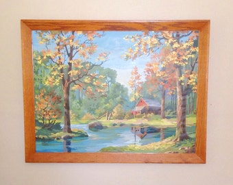 Extra Large Vintage Framed Paint by Number--Fall Landscape with Red Barn
