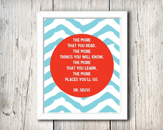 Dr. Seuss Quote - The more that you read... - digital print - 8x10 inch - instant download - Wall Art - Nursery