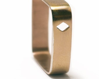 Square ring in pink golden vermeil 18 carats with cut motive Ace of Diamonds