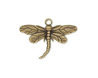 Dragonfly Charm, Antiqued Brass Dragonfly, One Sided Charm, Steampunk, 26x5mm, 4 each, D438