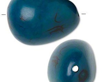Tagua Bead, tagua nut bead, extra large, Dark Teal Blue, tribal bead, 28mm to 33mm, 2 each, D479