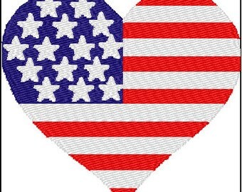 American Flag Love USA Embroidery Design