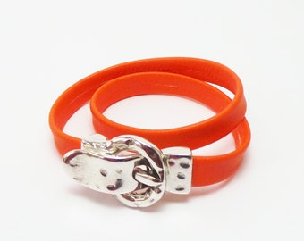 Orange butter-soft leather bracelet with silver magnetic buckle clasp