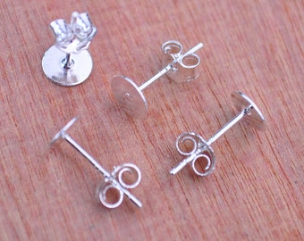 925 sterling silver earring post and earring back,50 pairs 6mm silver plated copper Earring studs With round Pads back stoppers earnuts.