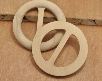 on sale - 2pcs Big Wood Buckle Unfinished Natural Wood Buckle Round Buttons,No Varnish & No Lacquer,Natural Wood Accessory - 75mm