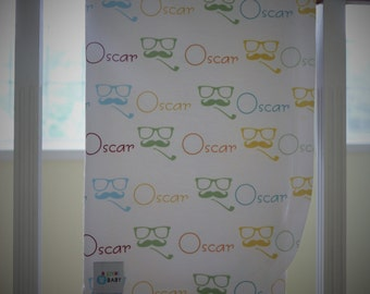 Moustache, Glasses, and Pipe Personalized Baby Blanket