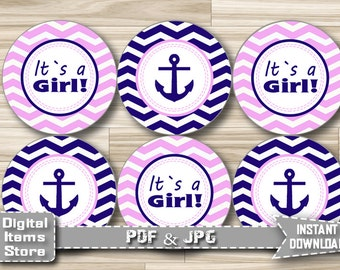 Baby Shower Decorations Anchor, Baby Shower Toppers Nautical Pink Blue for Girl, Printable Stickers, Baby Shower Toppers, Instant Download