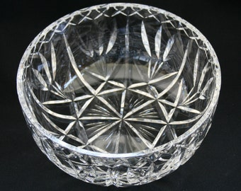 """Crystal Cut Glass 8"""" Round Serving Bowl"""