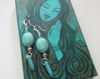 Om Shanti Turquoise Earrings
