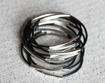 black leather bangles with two silver tubes, set of 10 bracelets