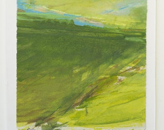 Contemporary landscape painting by Thorie Hinds, Image size 13 X 14 cm, mixed media on paper. Course of motion.