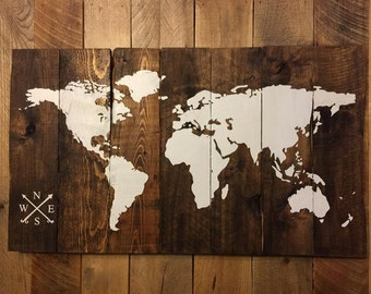 World Map, Reclaimed Wood Map