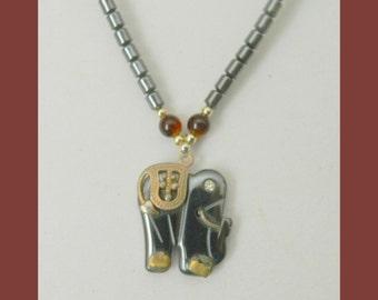 Vintage Elephant Lava Rock Choker Pendant