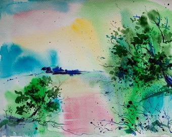 Landscape painting, Original watercolor painting, Watercolor landscape painting, Tree painting watercolour, Watercolor art, wall decor