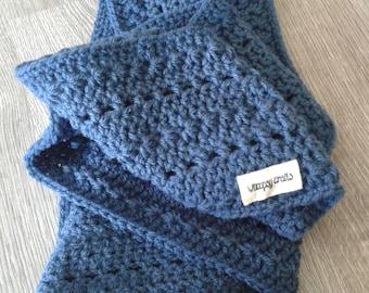Dark blue crochet cowl scarf
