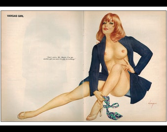 "Vargas Playboy Pinup Girl Vintage December 1970 ""Gift"" Sexy Redhead Nude Mature 2 Page Pinup Wall Art Deco Print"