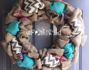 Grey chevron/Teal Burlap Wreath