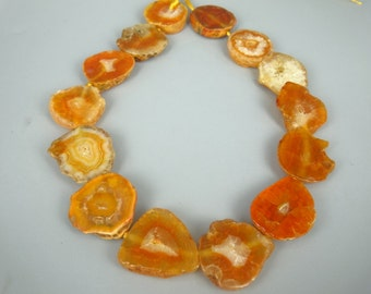 Agate, Orange Agate Slice Beads, Druzy Agate Gemstone Necklace for Lady