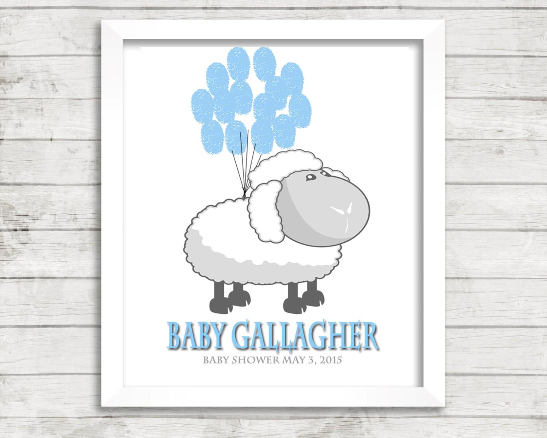 fingerprint tree baby shower lamb baby shower blue gray gender