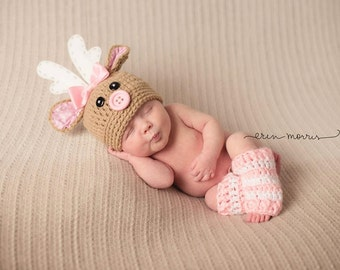 Christmas Hat & Leg Warmers ..... Rudolph the Red Nosed Reindeer.... deer hat......Newborn Photo Prop...crochet Baby Shower Gift