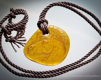 Kiln Cast Crystal Citrine coloured Horse Profile Pendant on silk cord