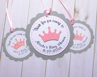 12 Crown in Pink Glitter Favor Tags. Personalized favor tags for Birthdays and Babyshower parties