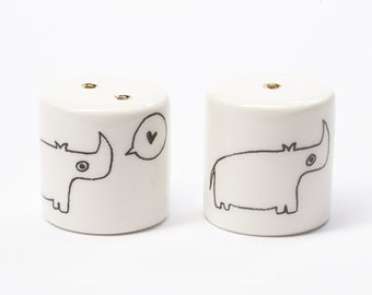 Ceramic Salt and Pepper Shakers - Love Rhinos
