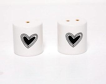 Ceramic Salt and Pepper Shakers - Heart Inside
