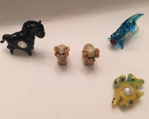 SALE!!! Handblown Glass Beads, Hand blown Glass Lampwork Animal Beads for Charm Bracelets, Pandora, Elephant, Fish, Stallion