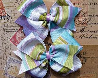 Multi Colored Striped Pinwheel Hair Bows