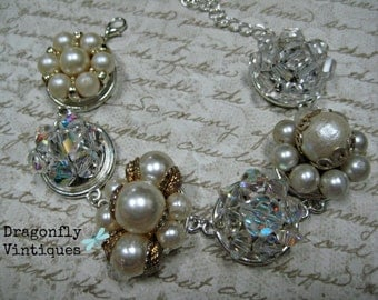 Vintage Earring Bracelet, Repurposed Jewelry, Vintage Earrings, Bride, Bridal, Wedding, Upcycled Jewelry,Recycled Jewelry,One of a Kind  (4)
