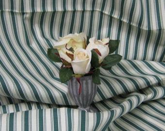 Richloom Green and Cream Canvas Stripe Fabric