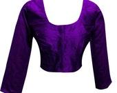 Indian womens Ready made plain Raw Silk PURPLE saree blouse choli top store online sari shops Luton Wembley London UK 4002