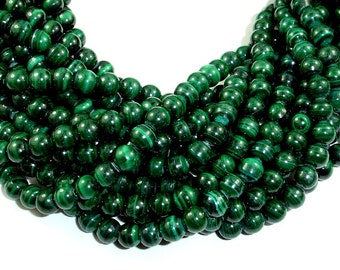 Natural Malachite Beads, 6 mm Round Beads, 15.5 Inch, Full strand, Approx 67 beads, Hole 0.8mm, A+ quality (312054006)