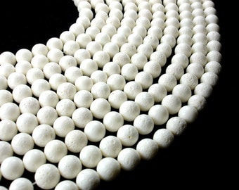 White Sponge Coral Beads, Round, 10mm(10.5mm), 16 Inch, Full strand, Approx 40 beads, Hole 1 mm, A quality (448054004)