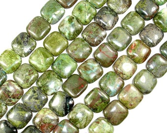 Green Rainforest Jasper Beads, Cuprite, Square, 16 x 16mm, 16 Inch, Full strand, Approx 26 beads, Hole 1 mm (262056002)