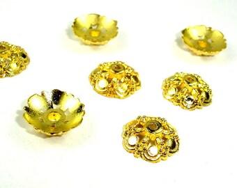 Bead Caps, Jewelry Findings, Zinc Alloy, Gold Tone, 14 mm, 30 pcs, Hole 1.2 mm (006851010)
