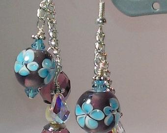 Lampwork Bead Dangle Earrings, Purple Earrings, Flower Earrings, Blue Earrings